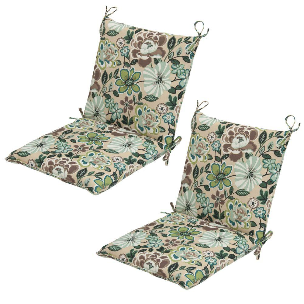 Hampton Bay Daphne Mid-Back Outdoor Dining Chair Cushion (2-Pack)