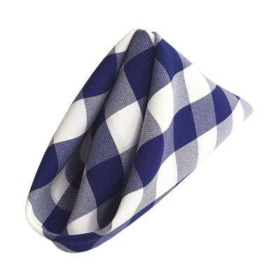 18 in. x 18 in. White and Royal Blue Gingham Checkered Napkins (10-Pack)