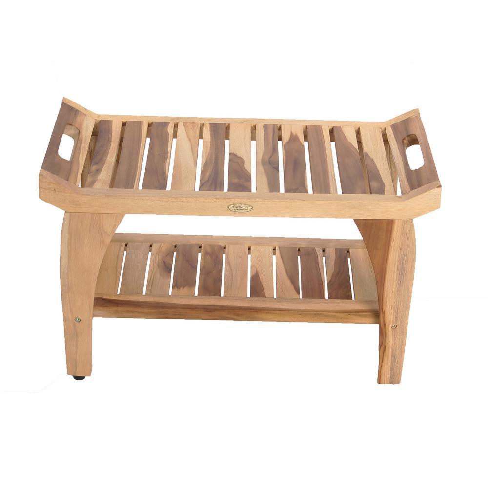 EarthyTeak Tranquility 30 in. Teak Shower Bench with Shelf