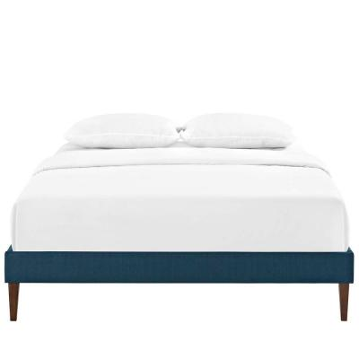 Tessie Azure King Bed Frame with Squared Tapered Legs