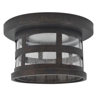 Washburn Small 1-Light Rustic Bronze Integrated LED Outdoor Flush Mount Ceiling Light