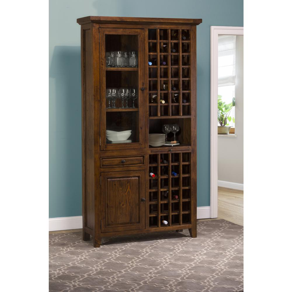 Hilale Furniture Tuscan Retreat 52 Bottles Tall Wine Storage In Antique Pine Finish