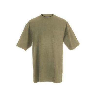 Men's Extra Large Tall Desert Cotton and Polyester Heavy-Weight Pocket T-Shirt
