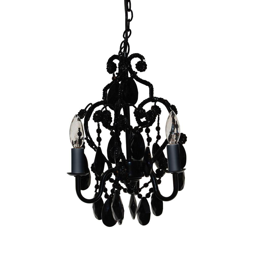 Mini chandelier black crystal chandelier designs tadpoles 3 light black onyx mini chandelier cchapl020 the home depot aloadofball Image collections