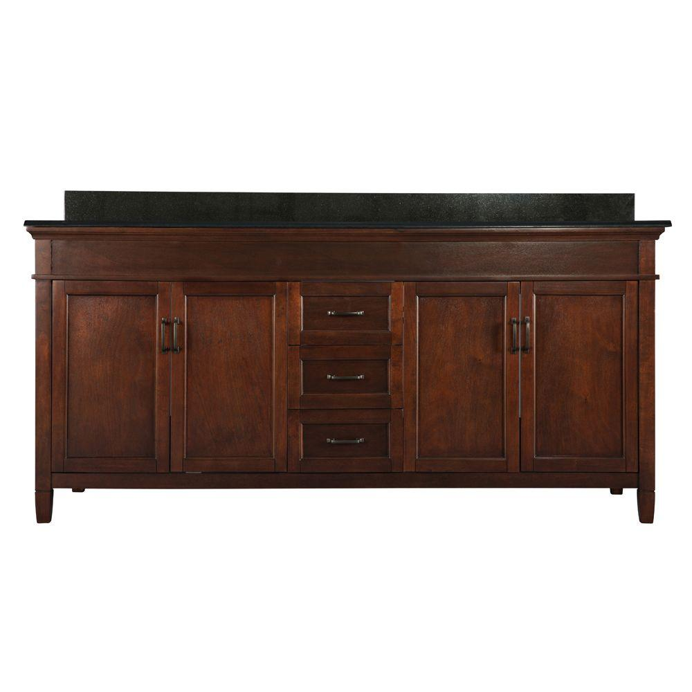Foremost Ashburn 73 In W X 22 In D Double Bath Vanity In Mahogany With Granite Vanity Top In