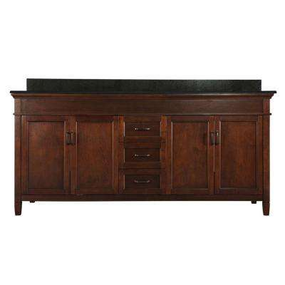 Ashburn 73 in. W x 22 in. D Double Bath Vanity in Mahogany with Granite Vanity Top in Black