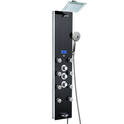 52 in. 8-Jet Rainfall Shower Panel System with Temperature Display, Tub Spout and Shower Wand in Black Tempered Glass