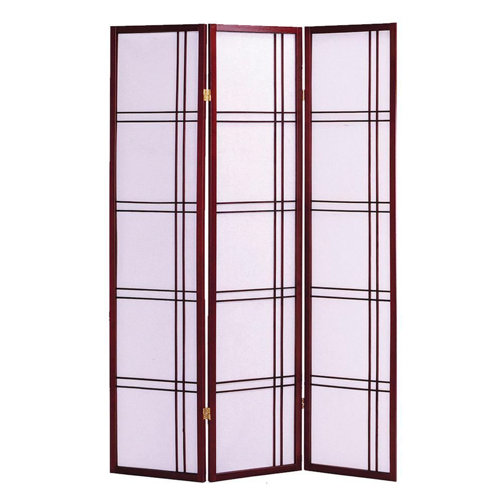 Shoji Screen 6 ft. Cherry 3-Panel Room Divider