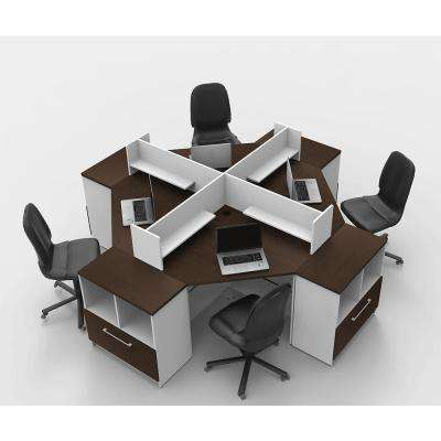 12-Piece White/Espresso Office Reception Desk Collaboration Center