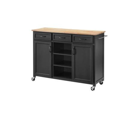 Home Decorators Collection Midnight Blue Wood Kitchen Island with Natural Butcher Block Top (48 in. W x 36 in. H)