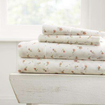 Soft Floral Patterned 4-Piece Pink California King Performance Bed Sheet Set