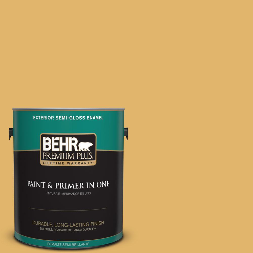 BEHR Premium Plus 1-gal. #M290-5 English Custard Semi-Gloss Enamel Exterior Paint