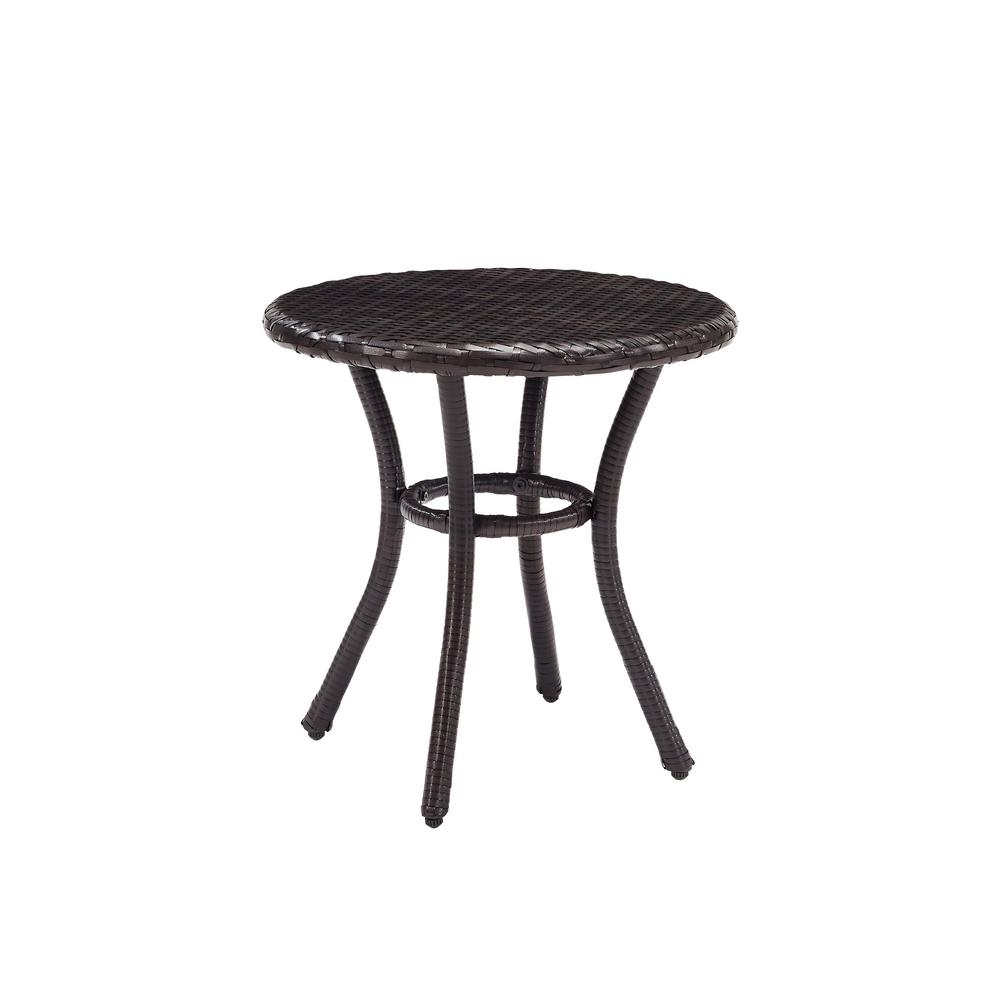Crosley Brown Wicker Outdoor Side Table Palm Harbor