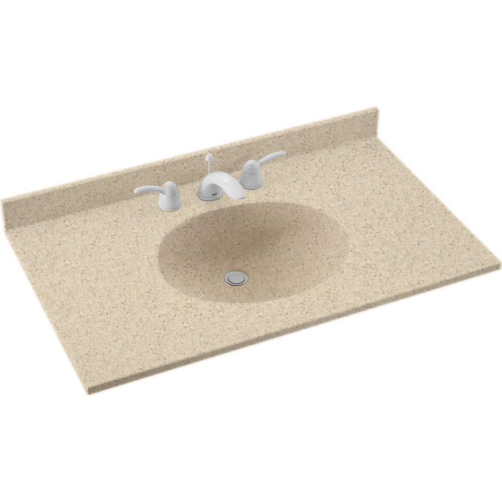 Swan Ellipse 49 In W X 22 In D Solid Surface Vanity Top With Sink In Bisque Vt1b2249 018 The