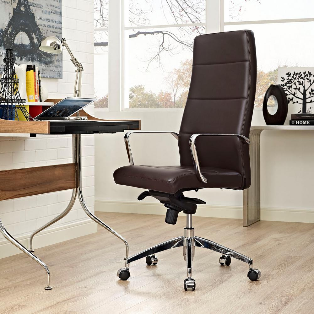 Modway Stride Highback Office Chair In Brown