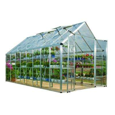 Snap and Grow 8 ft. x 16 ft. Silver Polycarbonate Greenhouse