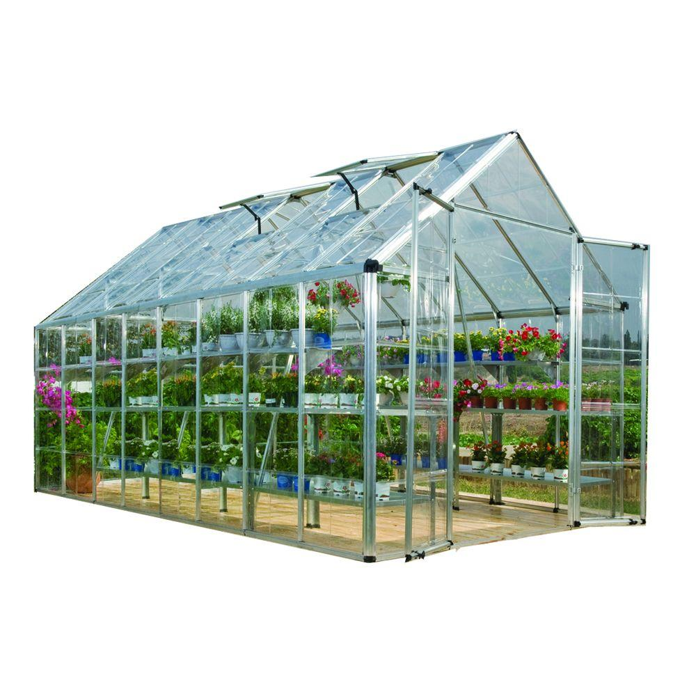 Palram Snap and Grow 8 ft. x 16 ft. Silver Polycarbonate Greenhouse