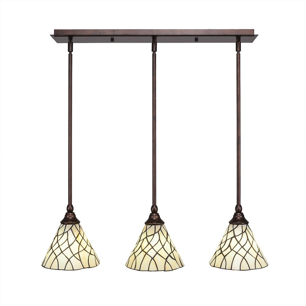 Cambridge 3-Light Bronze Island Pendant with Sandhill