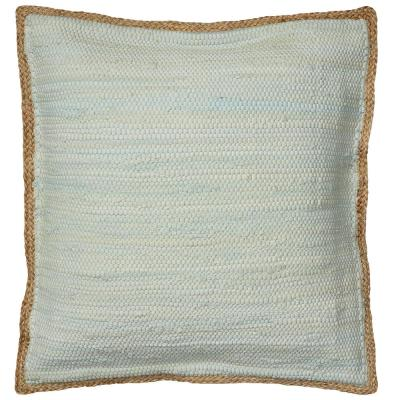 Riley Blue Solid Hypoallergenic Polyester 20 in. x 20 in. Throw Pillow