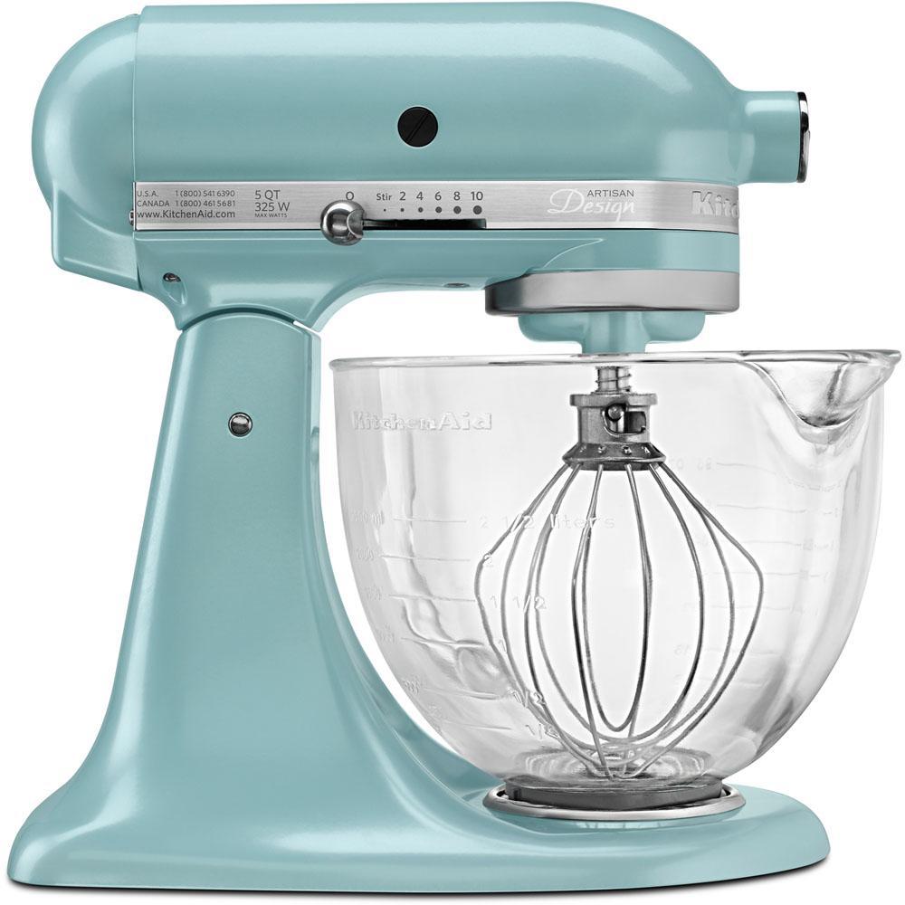 Kitchenaid Designer 5 Qt Azure Blue Stand Mixer Ksm155gbaz The Home Depot