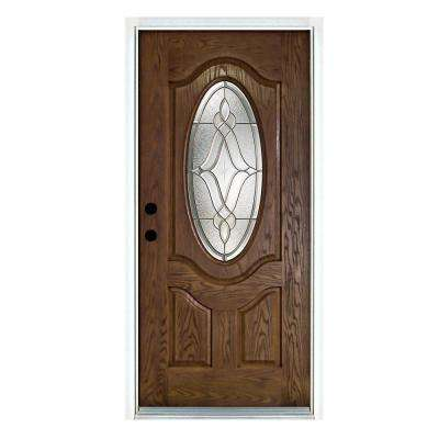 36 in. x 80 in. Distinction Medium Oak Right-Hand Inswing 3/4 Oval Lite Decorative Fiberglass Prehung Front Door