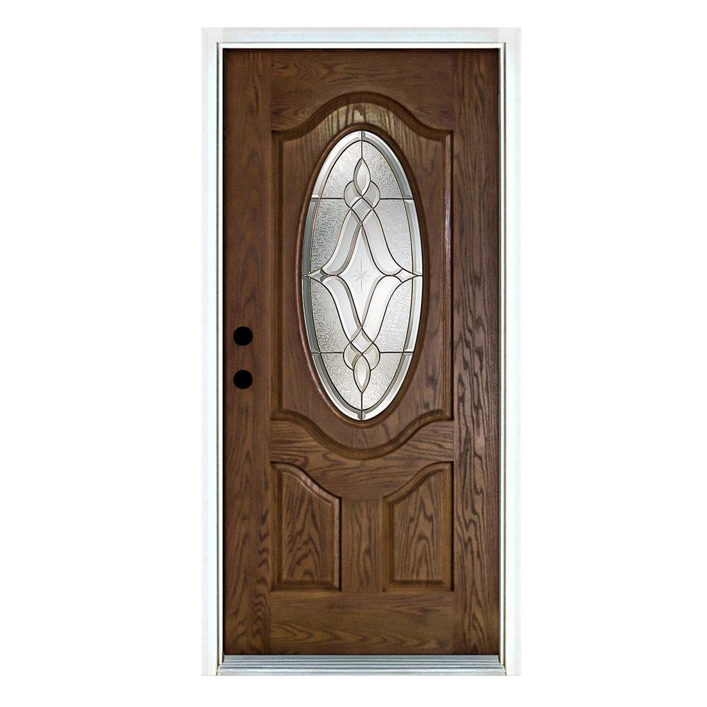 36 in. x 80 in. Distinction Medium Oak Right-Hand Inswing 3/4 Oval Lite Decorative Fiberglass Prehung Front Door