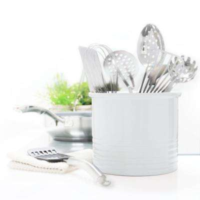 Glossy White Large Ceramic Utensil Crock