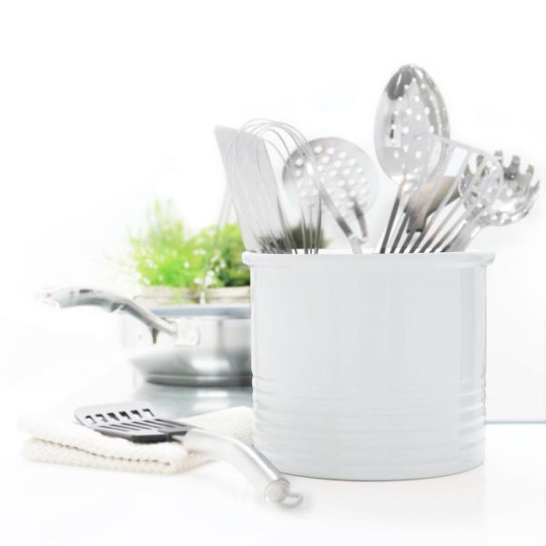 Chantal Glossy White Large Ceramic Utensil Crock 92-19-R WT