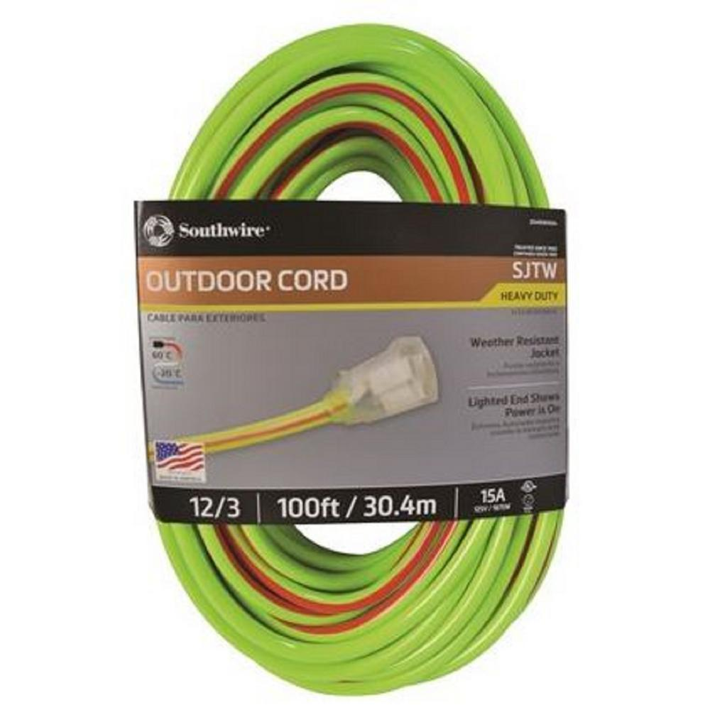 Outdoor Extension Cords Surge Protectors The Power What Gauge Wire Cord Do I Need For These Lamps Home 12 3 Sjtw Hi Visbility Multi Color Heavy