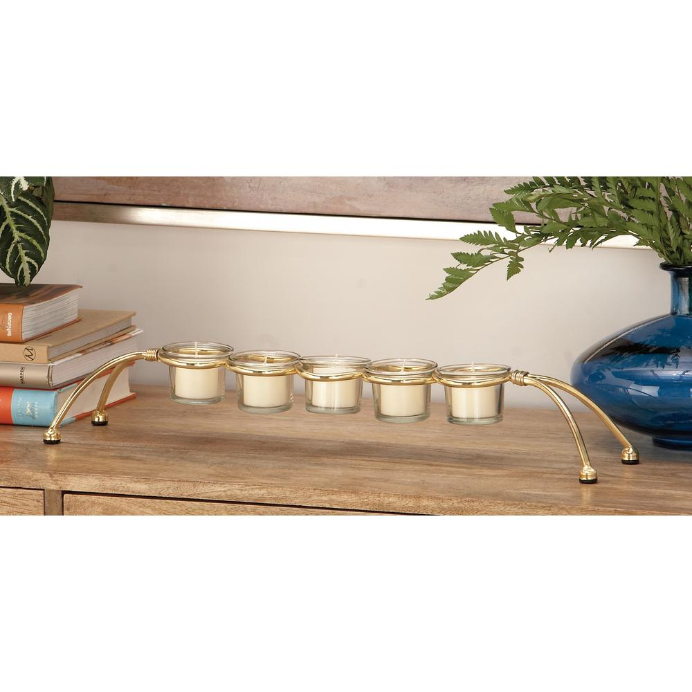 3 in. Distressed Silver Metal 5-Votive Candle Holder