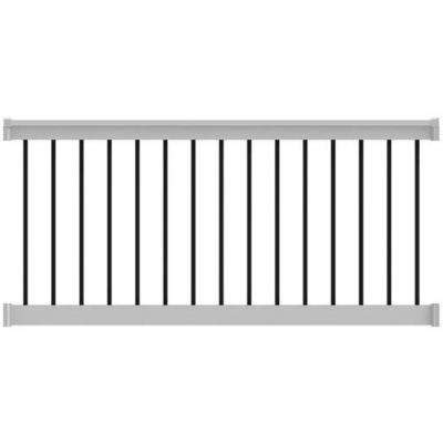 T-Top 6 in. x 36 in. Level Rail Kit White with Round Balusters