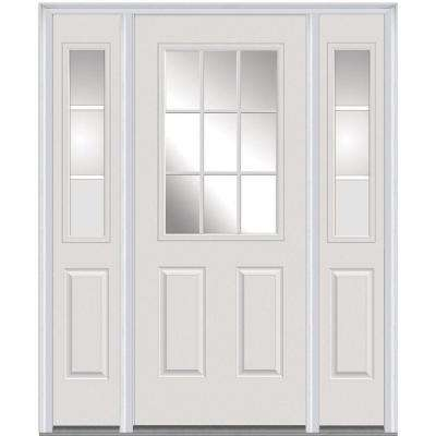 64 in. x 80 in. Internal Grilles Right-Hand Inswing 1/2-Lite Clear Primed Steel Prehung Front Door with Sidelites