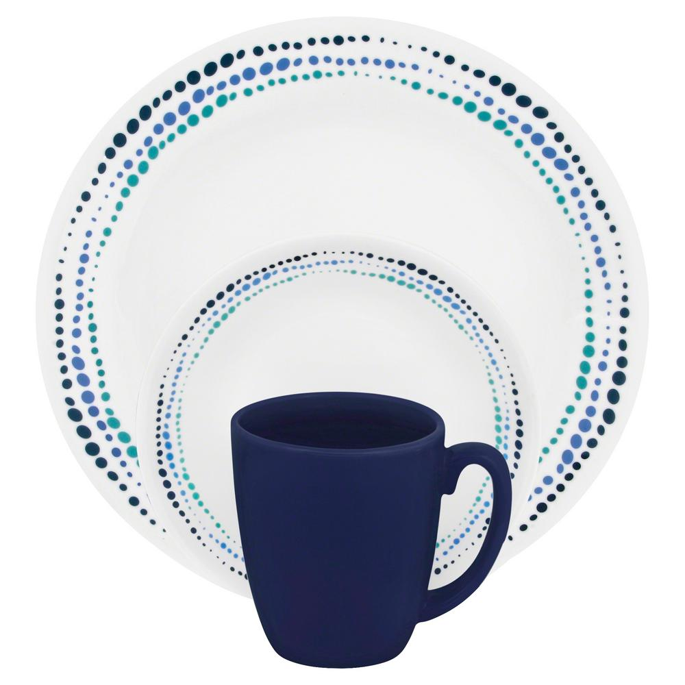 Corelle Corelle Classic 16-Piece Ocean Blues Dinnerware Set, Blue Droplet Pattern