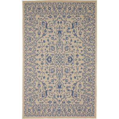 Outdoor Botanical Beige and Blue 5' x 8' Rug