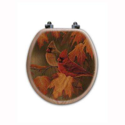Maple Leaves and Cardinal Round Closed Front Wood Toilet Seat in Oak Brown