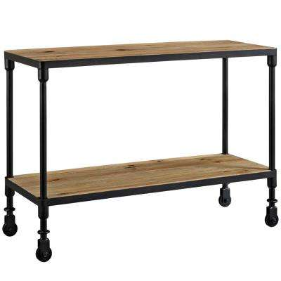 Raise 42 in. Brown Wood TV Stand