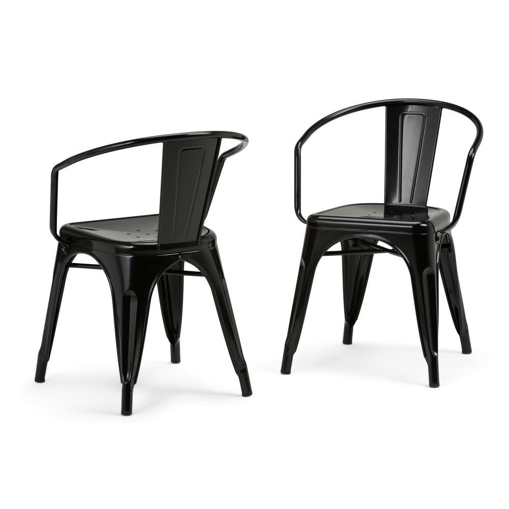 Simpli Home Larkin Black Metal Dining Arm Chair Set Of 2