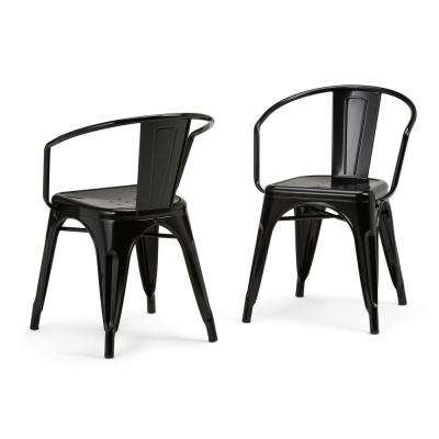 Larkin Black Metal Dining Arm Chair (Set of 2)
