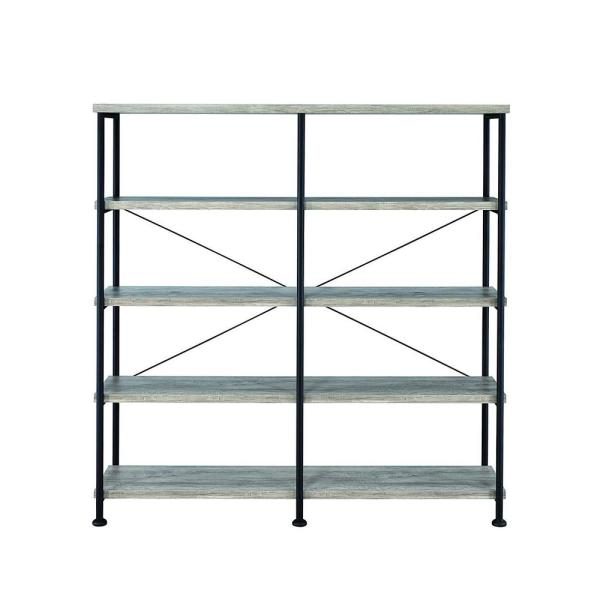 Contemporary Style Gray Wood and Metal Open Bookcase