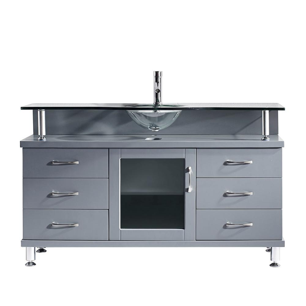 Virtu USA Vincente 56 in. W Bath Vanity in Gray with Glass Vanity Top in Clear Tempered Glass with Round Basin
