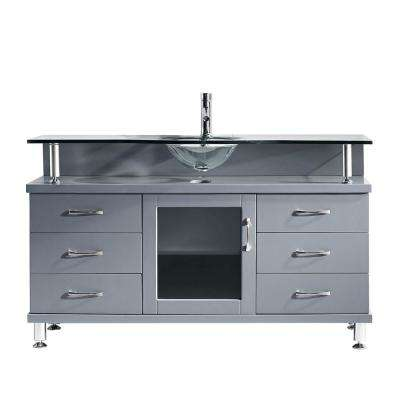 Vincente 56 in. W Bath Vanity in Gray with Glass Vanity Top in Clear Tempered Glass with Round Basin