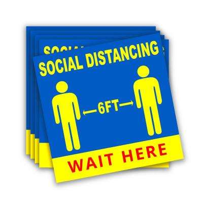 9 in. x 9 in. Social Distancing Floor Decals Blue Social Distance 6 ft. Apart Stickers (Pack of 5)