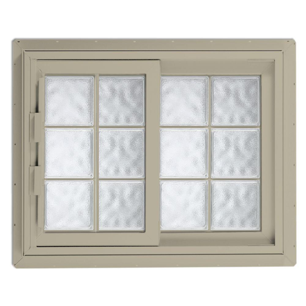 Hy-Lite 40.75 in. x 40.125 in. Acrylic Block Right-Hand Sliding Vinyl Window - Tan