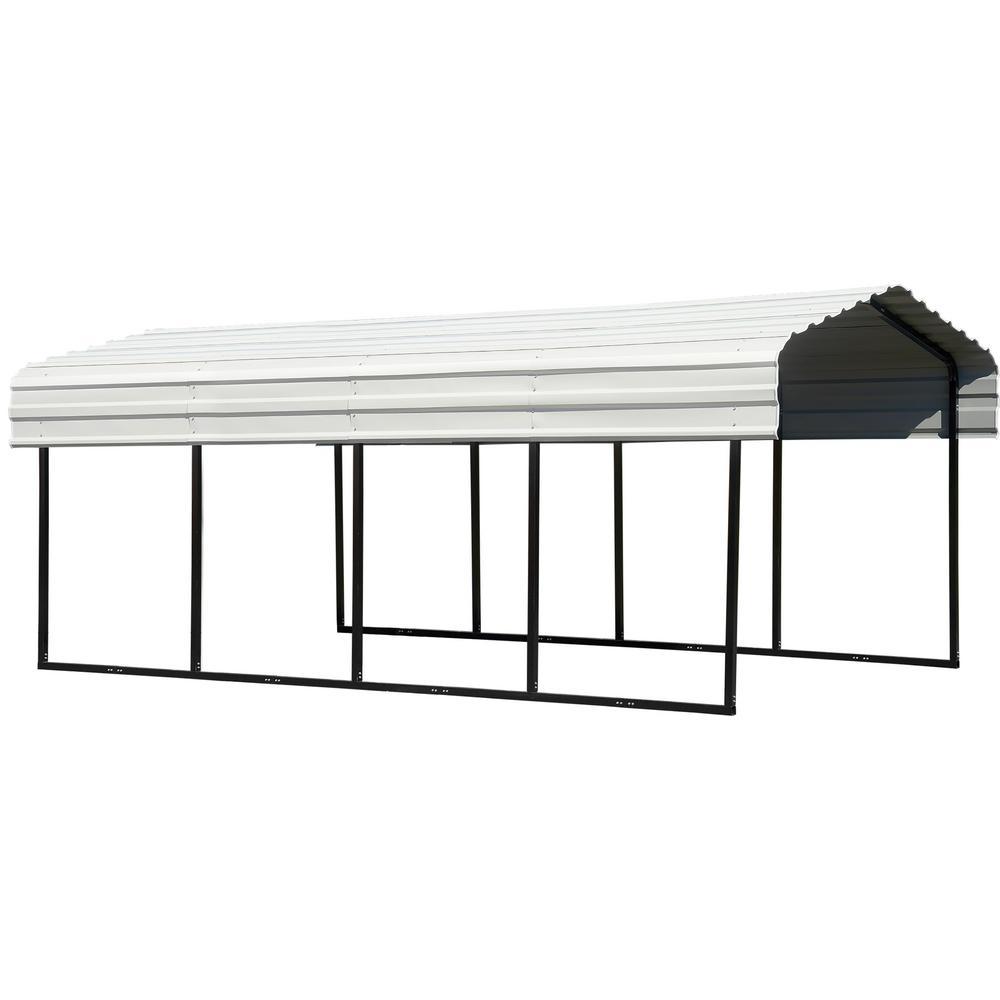 Super Arrow 10 Ft W X 20 Ft D Eggshell Galvanized Steel Carport Car Canopy And Shelter Evergreenethics Interior Chair Design Evergreenethicsorg
