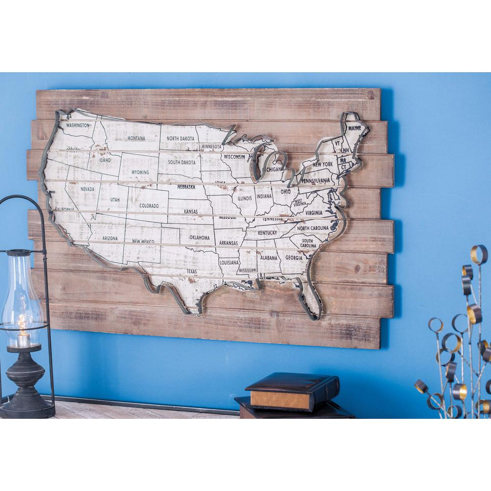 Litton Lane 36 in. x 22 in. Rustic Wood and Metal USA Map Wall Decor on