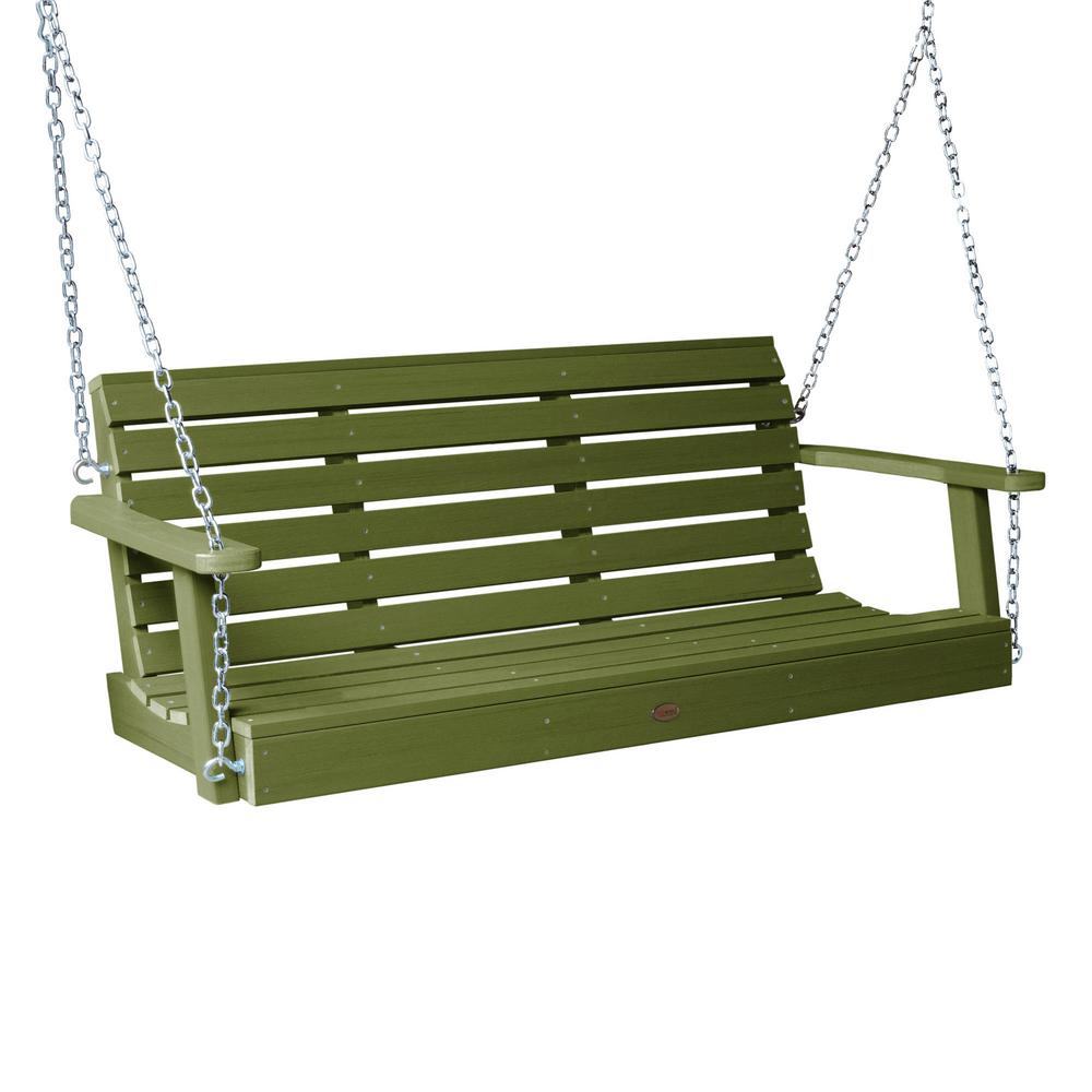 Highwood Weatherly 48 in. 2-Person Dried Sage Recycled Plastic Porch Swing