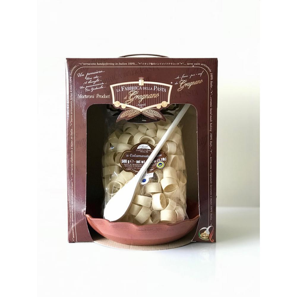 """Piatto Riccioline"" 3-Piece Gift Set Contains 1-Handmade Terracotta Bowl, Gragnano Pasta and Wooden Spoon"