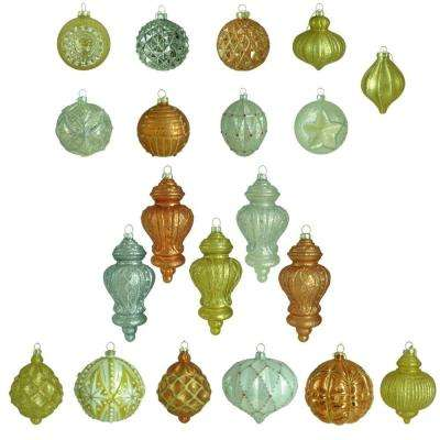 holiday shimmer glass set ornament 20 count
