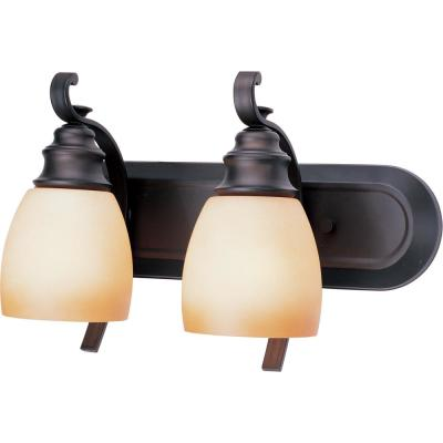 Rainier 2-Light Indoor Foundry Bronze Bath or Vanity Wall Mount with Sandstone Glass Bell Shades