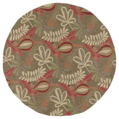 Home and Porch Tybee Coffee 5 ft. 9 in. Indoor/Outdoor Round Area Rug